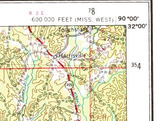 Reduced fragment of topographic map en--usgs--250k--068929--(1953)--N032-00_W092-00--N031-00_W090-00; towns and cities Brookhaven, Natchez, Mccomb, Crystal Springs, Tylertown