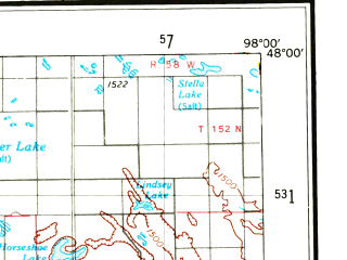 Reduced fragment of topographic map en--usgs--250k--068931--(1971)--N048-00_W100-00--N047-00_W098-00 in area of Stump Lake, Horseshoe Lake, Mud Lake; towns and cities Mcville, Buchanan, Hamberg