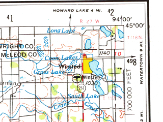 Reduced fragment of topographic map en--usgs--250k--068932--(1953)--N045-00_W096-00--N044-00_W094-00; towns and cities Marshall, North Mankato, New Ulm, Montevideo, Sacred Heart
