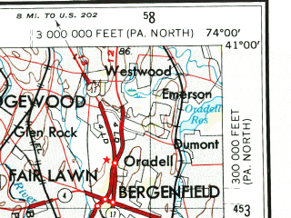 Reduced fragment of topographic map en--usgs--250k--068933--(1944)--N041-00_W076-00--N040-00_W074-00; towns and cities Newark, Allentown, Jersey City, Trenton, Reading