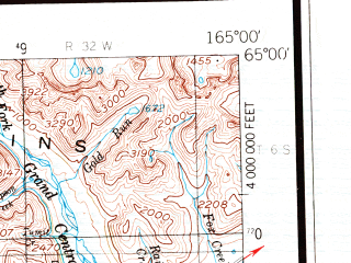 Reduced fragment of topographic map en--usgs--250k--068935--(1950)--N065-00_W168-00--N064-00_W165-00 in area of Glacial Lake; towns and cities Nome