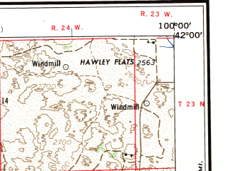 Reduced fragment of topographic map en--usgs--250k--068937--(1957)--N042-00_W102-00--N041-00_W100-00 in area of Dismal, North Platte, Dismal; towns and cities North Platte, Ogallala, Paxton, Dunning, Gandy