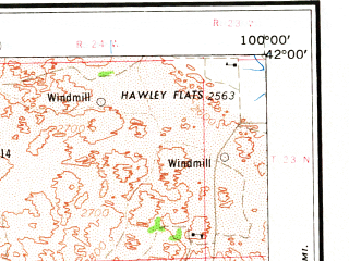 Reduced fragment of topographic map en--usgs--250k--068937--(1967)--N042-00_W102-00--N041-00_W100-00 in area of Dismal, North Platte, Dismal; towns and cities North Platte, Ogallala, Stapleton, Hershey, Sutherland