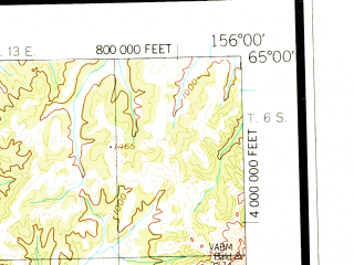 Reduced fragment of topographic map en--usgs--250k--068939--(1952)--N065-00_W159-00--N064-00_W156-00; towns and cities Galena, Kaltag, Koyukuk