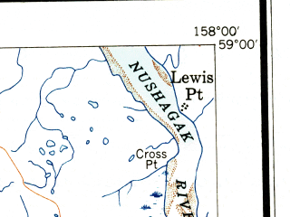 Reduced fragment of topographic map en--usgs--250k--068941--(1945)--N059-00_W160-00--N058-00_W158-00 in area of Igushik, Kikertalik Lake; towns and cities Clarks Point