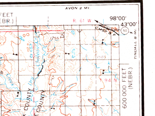 Reduced fragment of topographic map en--usgs--250k--068942--(1969)--N043-00_W100-00--N042-00_W098-00; towns and cities Royal, Burton, Spencer