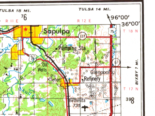 Reduced fragment of topographic map en--usgs--250k--068947--(1957)--N036-00_W098-00--N035-00_W096-00; towns and cities Oklahoma City, Midwest City, Edmond, Norman, Yukon