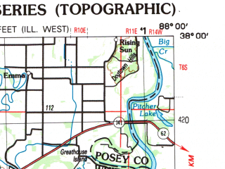 Reduced fragment of topographic map en--usgs--250k--068951--(1987)--N038-00_W090-00--N037-00_W088-00; towns and cities Paducah, Cape Girardeau, Carbondale, Marion, Herrin