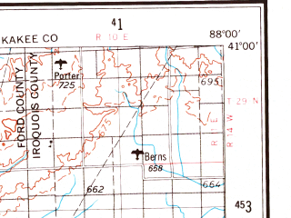 Reduced fragment of topographic map en--usgs--250k--068956--(1958)--N041-00_W090-00--N040-00_W088-00; towns and cities Peoria, Champaign, Bloomington, Urbana, East Peoria