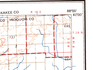 Reduced fragment of topographic map en--usgs--250k--068956--(1963)--N041-00_W090-00--N040-00_W088-00; towns and cities Peoria, Champaign, Bloomington, Urbana, East Peoria