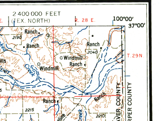 Reduced fragment of topographic map en--usgs--250k--068957--(1958)--N037-00_W102-00--N036-00_W100-00 in area of Optima Lake; towns and cities Perryton, Guymon, Texhoma, Goodwell, Darrouzett