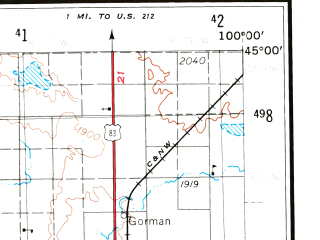 Reduced fragment of topographic map en--usgs--250k--068960--(1954)--N045-00_W102-00--N044-00_W100-00; towns and cities Pierre, Eagle Butte, Philip, Fort Pierre
