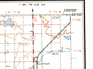 Reduced fragment of topographic map en--usgs--250k--068960--(1958)--N045-00_W102-00--N044-00_W100-00; towns and cities Pierre, Onida, Eagle Butte, Philip