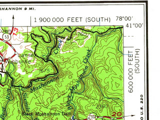 Reduced fragment of topographic map en--usgs--250k--068961--(1964)--N041-00_W080-00--N040-00_W078-00; towns and cities Pittsburgh, Johnstown, Altoona, Penn Hills, Butler