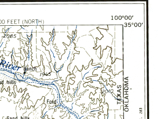 Reduced fragment of topographic map en--usgs--250k--068962--(1958)--N035-00_W102-00--N034-00_W100-00; towns and cities Plainview, Canyon, Childress, Dodson, Hedley
