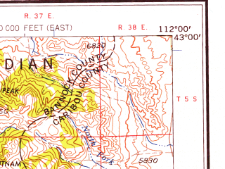 Reduced fragment of topographic map en--usgs--250k--068963--(1958)--N043-00_W114-00--N042-00_W112-00 in area of Raft, Portneuf, Lake Walcott; towns and cities Pocatello, Rupert, Burley, Chubbuck, Clifton