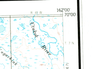 Reduced fragment of topographic map en--usgs--250k--068965--(1955)--N070-00_W165-00--N069-00_W162-00 in area of Tunusiktok Lake, Pugutak Lake, Mumik Lake; towns and cities Point Lay