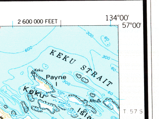 Reduced fragment of topographic map en--usgs--250k--068966--(1951)--N057-00_W136-00--N056-00_W134-00 in area of Whale Bay, Redoubt Lake, Benzeman Lake; towns and cities Rowan Bay, Port Alexander