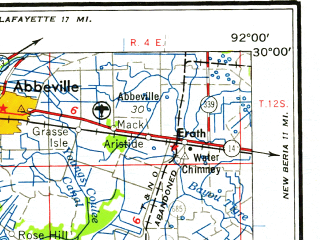 Reduced fragment of topographic map en--usgs--250k--068967--(1958)--N030-00_W094-00--N029-00_W092-00 in area of Sabine Lake, White Lake, Grand Lake; towns and cities Port Arthur, Port Neches, Groves, Abbeville, Erath