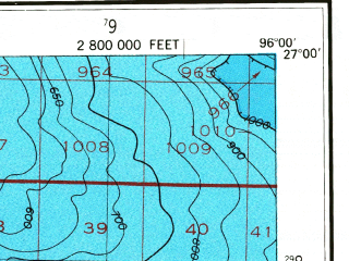 Reduced fragment of topographic map en--usgs--250k--068968--(1956)--N027-00_W098-00--N026-00_W096-00 in area of Bahia Grande, Cayo Atascoso, La Sal Vieja; towns and cities Harlingen, Weslaco, San Benito, Mercedes, Elsa