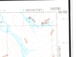 Reduced fragment of topographic map en--usgs--250k--068969--(1953)--N056-00_W162-00--N055-00_W160-00 in area of Port Moller, Pavlof Bay, Sapsuk Lake; towns and cities Sand Point