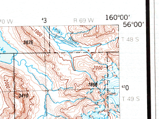 Reduced fragment of topographic map en--usgs--250k--068969--(1988)--N056-00_W162-00--N055-00_W160-00 in area of Port Moller, Pavlof Bay, Sapsuk Lake; towns and cities Sand Point