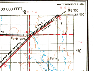 Reduced fragment of topographic map en--usgs--250k--068971--(1955)--N038-00_W100-00--N037-00_W098-00; towns and cities Pratt, Offerle, Ford, Anthony
