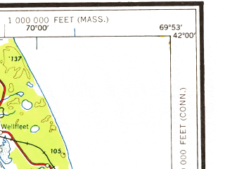Reduced fragment of topographic map en--usgs--250k--068975--(1958)--N042-00_W072-00--N041-00_W069-53 in area of Nantucket Sound, Narragansett Bay, Buzzards Bay; towns and cities Providence, Pawtucket, New Bedford, Fall River, Newport