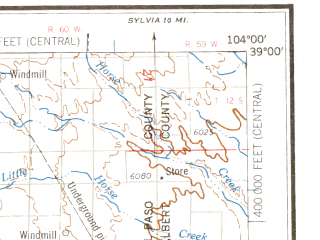 Reduced fragment of topographic map en--usgs--250k--068976--(1958)--N039-00_W106-00--N038-00_W104-00 in area of Elevenmile Canyon Reservoir, Pueblo Reservoir; towns and cities Colorado Springs, Pueblo, Canon City, Cimarron Hills, Fort Carson