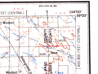Reduced fragment of topographic map en--usgs--250k--068976--(1962)--N039-00_W106-00--N038-00_W104-00 in area of Elevenmile Canyon Reservoir, Pueblo Reservoir; towns and cities Colorado Springs, Pueblo, Fort Carson, Security-widefield, Canon City