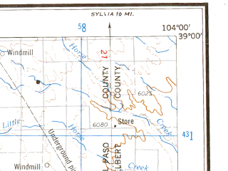 Reduced fragment of topographic map en--usgs--250k--068976--(1966)--N039-00_W106-00--N038-00_W104-00 in area of Elevenmile Canyon Reservoir, Pueblo Reservoir; towns and cities Colorado Springs, Pueblo, Fort Carson, Security-widefield, Canon City