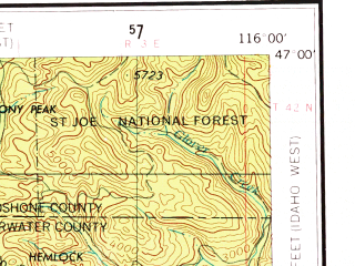 Reduced fragment of topographic map en--usgs--250k--068977--(1955)--N047-00_W118-00--N046-00_W116-00 in area of North Fk. Clearwater; towns and cities Lewiston, Pullman, Moscow, Clarkston, Onaway