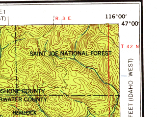 Reduced fragment of topographic map en--usgs--250k--068977--(1958)--N047-00_W118-00--N046-00_W116-00 in area of North Fk. Clearwater; towns and cities Lewiston, Pullman, Moscow, Clarkston, Endicott