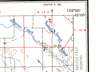 Reduced fragment of topographic map en--usgs--250k--068982--(1957)--N045-00_W104-00--N044-00_W102-00 in area of Belle Fourche Reservoir, Deerfield Lake; towns and cities Rapid City, Ellsworth Afb, Spearfish, Sturgis, Deadwood