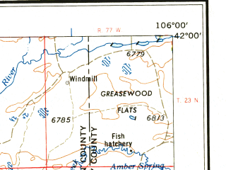 Reduced fragment of topographic map en--usgs--250k--068985--(1958)--N042-00_W108-00--N041-00_W106-00 in area of North Platte Ri Ver, Douglas Creek Reservoir; towns and cities Rawlins, Wamsutter, Baggs, Medicine Bow