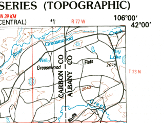 Reduced fragment of topographic map en--usgs--250k--068985--(1988)--N042-00_W108-00--N041-00_W106-00 in area of North Platte Ri Ver, Douglas Creek Reservoir; towns and cities Rawlins, Dixon, Riverside, Elk Mountain