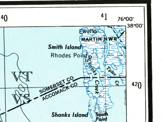 Reduced fragment of topographic map en--usgs--250k--068987--(1943)--N038-00_W078-00--N037-00_W076-00 in area of York, Mobjack Bay, Mattaponi; towns and cities Richmond, Newport News, Hampton, Tuckahoe, Hopewell