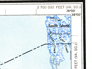 Reduced fragment of topographic map en--usgs--250k--068987--(1949)--N038-00_W078-00--N037-00_W076-00 in area of York, Mobjack Bay, Mattaponi; towns and cities Richmond, Newport News, Hampton, Tuckahoe, Hopewell