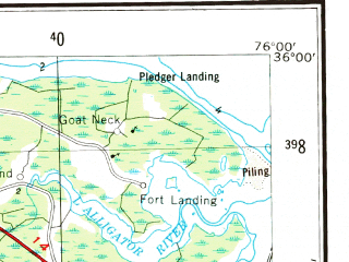 Reduced fragment of topographic map en--usgs--250k--068991--(1953)--N036-00_W078-00--N035-00_W076-00 in area of Pamlico, Lake Mattamuskett, Phelps Lake; towns and cities Goldsboro, Rocky Mount, Kinston, Greenville, Wilson