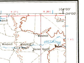 Reduced fragment of topographic map en--usgs--250k--068994--(1962)--N034-00_W106-00--N033-00_W104-00 in area of Hondo; towns and cities Roswell, Mescalero, Dexter, Ruidoso
