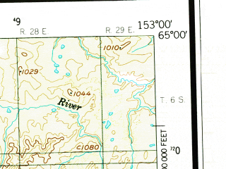 Reduced fragment of topographic map en--usgs--250k--068996--(1952)--N065-00_W156-00--N064-00_W153-00 in area of Grass Lake; towns and cities Ruby