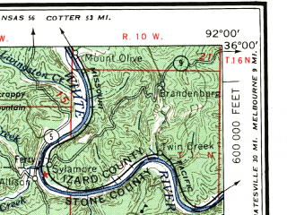 Reduced fragment of topographic map en--usgs--250k--068997--(1956)--N036-00_W094-00--N035-00_W092-00 in area of Dardanelle Resevoir; towns and cities Russellville, Conway, Morrilton, Clarksville, Heber Springs