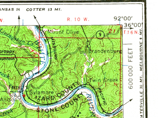 Reduced fragment of topographic map en--usgs--250k--068997--(1964)--N036-00_W094-00--N035-00_W092-00 in area of Dardanelle Resevoir; towns and cities Conway, Russellville, Morrilton, Clarksville, Heber Springs