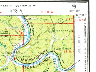 Reduced fragment of topographic map en--usgs--250k--068997--(1977)--N036-00_W094-00--N035-00_W092-00 in area of Dardanelle Resevoir; towns and cities Russellville, Conway, Morrilton, Clarksville, Heber Springs