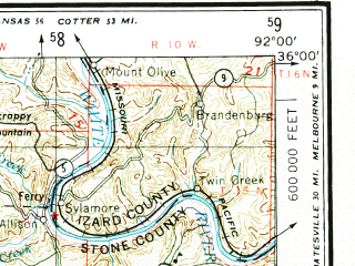 Reduced fragment of topographic map en--usgs--250k--068997--(1984)--N036-00_W094-00--N035-00_W092-00 in area of Dardanelle Resevoir; towns and cities Russellville, Conway, Morrilton, Clarksville, Heber Springs