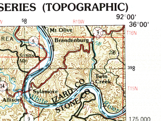 Reduced fragment of topographic map en--usgs--250k--068997--(1992)--N036-00_W094-00--N035-00_W092-00 in area of Dardanelle Resevoir; towns and cities Russellville, Conway, Morrilton, Clarksville, Heber Springs