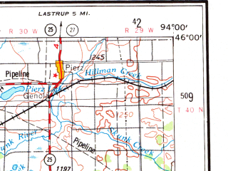Reduced fragment of topographic map en--usgs--250k--069001--(1953)--N046-00_W096-00--N045-00_W094-00; towns and cities St. Cloud, Willmar, Sartell, Litchfield, Morris