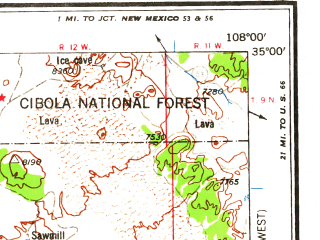 Reduced fragment of topographic map en--usgs--250k--069002--(1962)--N035-00_W110-00--N034-00_W108-00 in area of Sunrise Lake; towns and cities Mcnary, Pinetop-lakeside, Springerville