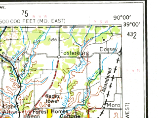 Reduced fragment of topographic map en--usgs--250k--069004--(1963)--N039-00_W092-00--N038-00_W090-00; towns and cities St. Louis, Florissant, St. Charles, Kirkwood, St. Peters