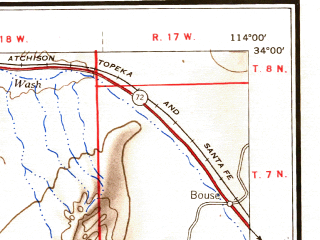 Reduced fragment of topographic map en--usgs--250k--069008--(1954)--N034-00_W116-00--N033-00_W114-00 in area of Palen Lake (dry), Ford Dry Lake, Hayfield Lake; towns and cities Blythe, East Blythe, Ehrenberg, Niland